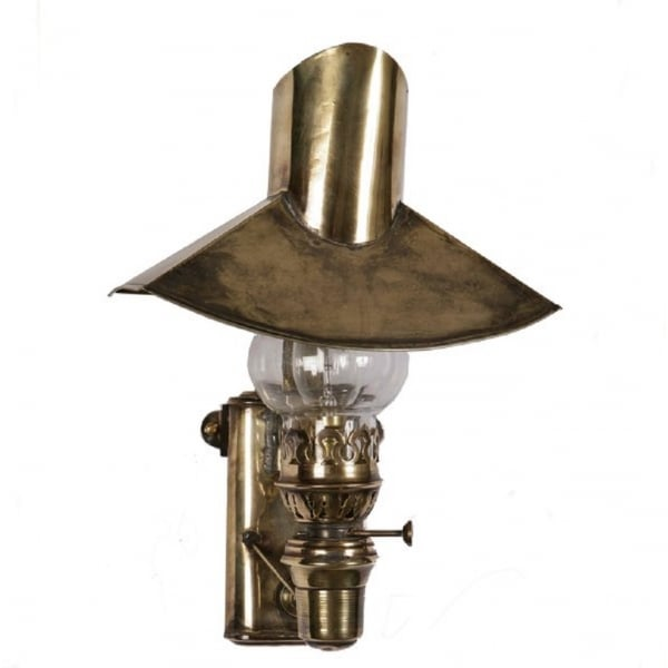 Edwardian Period Wall Lights : Reproduction Aged Brass Oil Lamp Wall Light from Welsh Woolen Mill