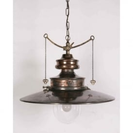 PADDINGTON large Victorian station lamp pendant light - antique brass