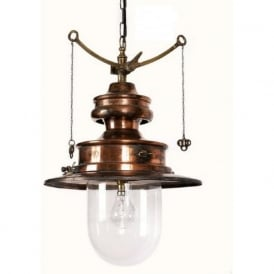PADDINGTON reproduction railway station pendant light - antique brass