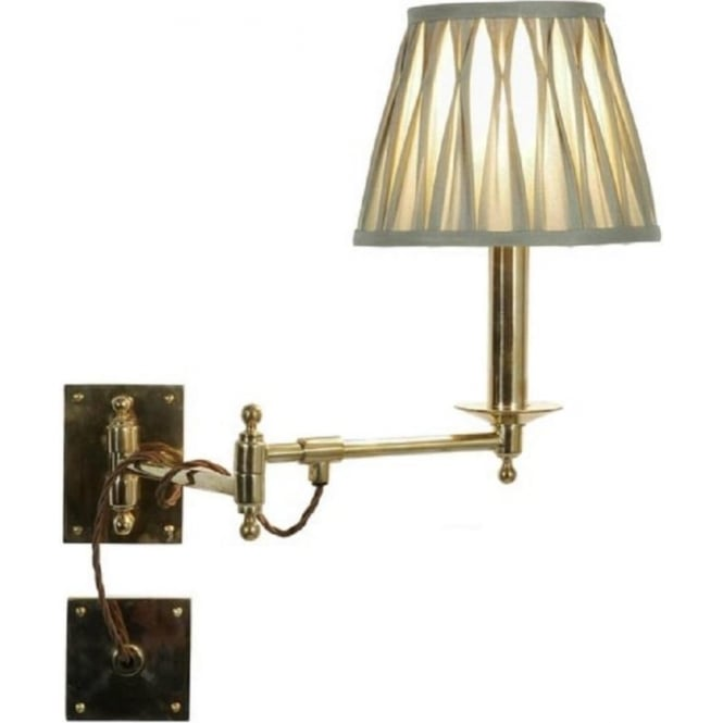 Traditional adjustable swing arm wall light for over bed reading light parlour traditional polished brass swing arm wall light with ivory shade aloadofball Image collections