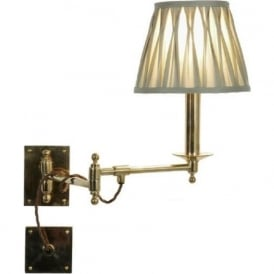 PARLOUR traditional polished brass swing arm wall light with ivory shade