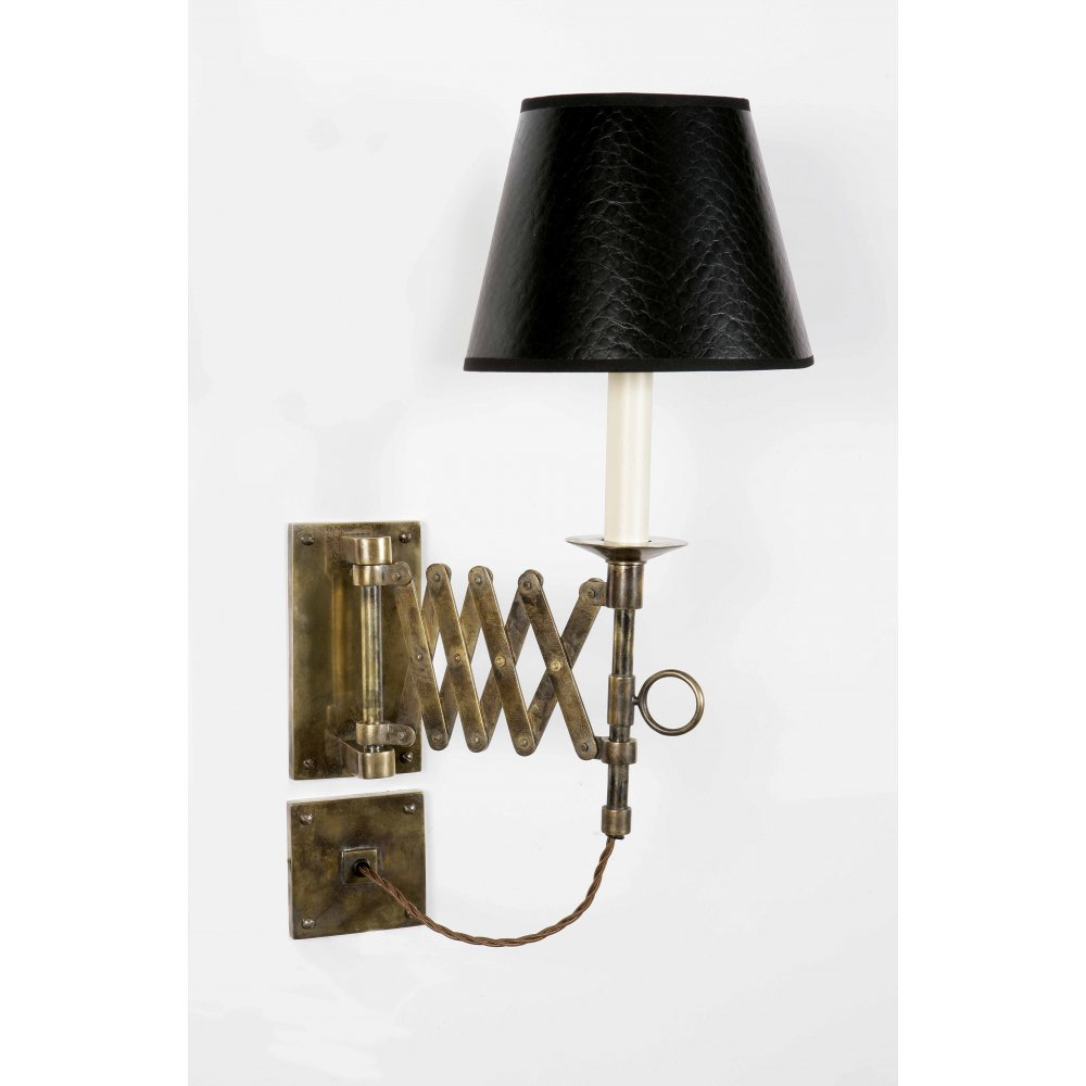 Wall Lights In Sheffield : Heritage Lighting SCISSOR extendable swing arm wall light in antique brass with black shade ...