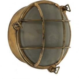 SHIPS BULKHEAD flush fitting circular nautical wall or ceiling light (large)