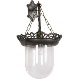 STORM GLASS traditional wall lantern in old antique finish with clear glass shade