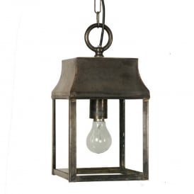 STRATHMORE traditional aged brass hanging hall lantern - small