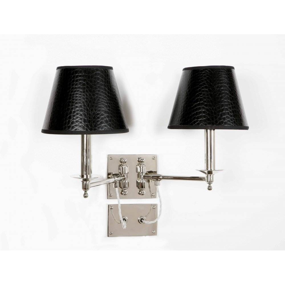 Wall Lighting Swing Arm Lamps : Double Swing Arm Wall Light Nickel with Black Mock Croc Shades