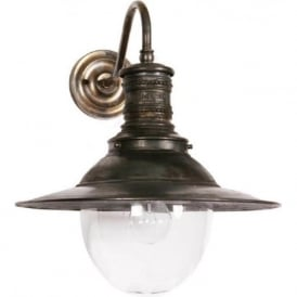 VICTORIA railway station replica wall light in antique brass - indoor or outdoor use