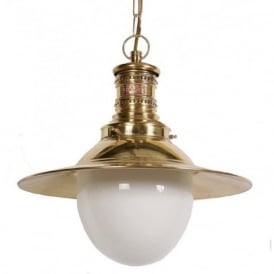 VICTORIA traditional station lamp ceiling pendant light in gold brass finish