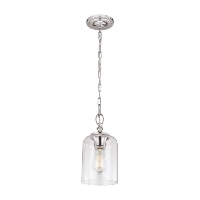 outlet store 62067 c376b HOUNSLOW mini chain pendant ceiling light in nickel with clear glass shade