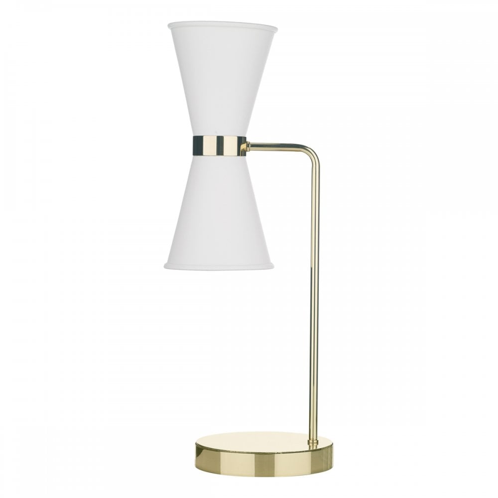 Hyde Mid Century Brass Table Lamp With White Painted Metal Shades