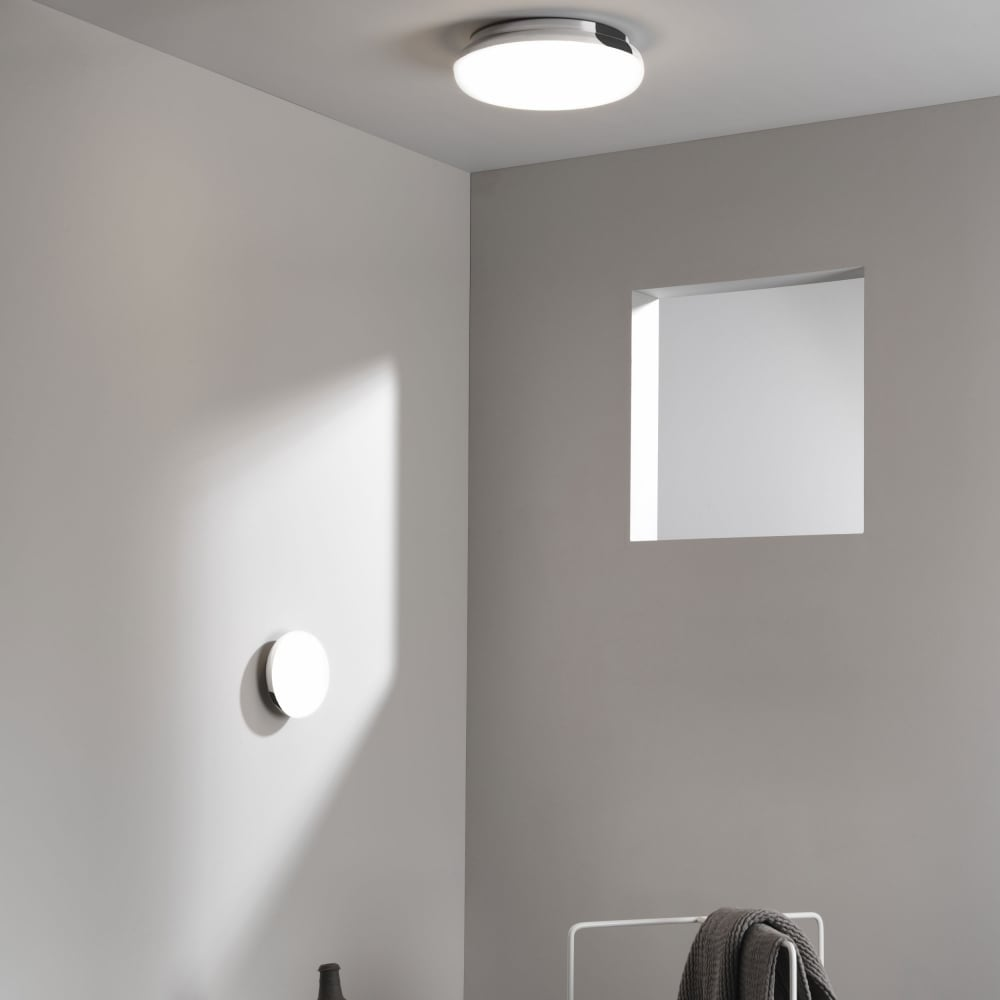 Circular ip44 bathroom ceiling light fits flush with chrome surround altea circular flush fitting opal glass bathroom ceiling light with chrome surround aloadofball Images