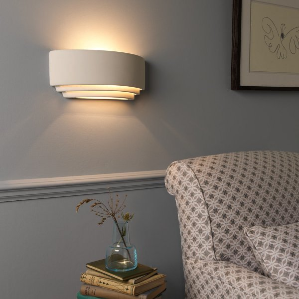Amalfi Ceramic Wall Lights : White Plaster Wall Light, Can be Painted in any Colour of Choice
