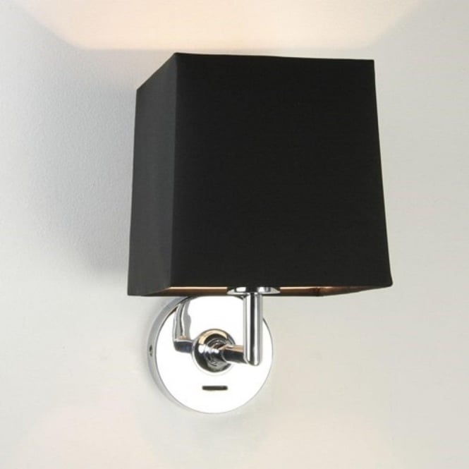 Switched Chrome Wall Light with Square Black Fabric Shade