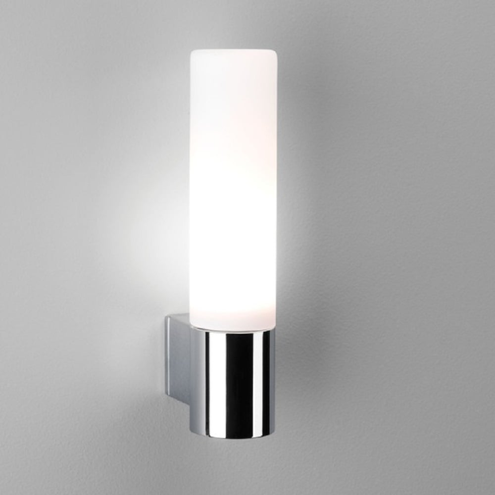 Modern Bathroom Wall Light in Chrome with Opal Glass Tube Shade
