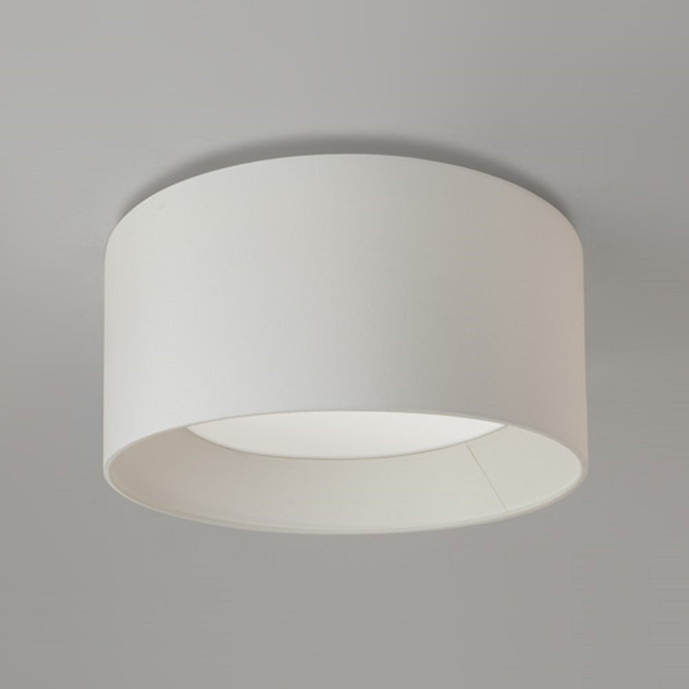Circular Ceiling Light For Low Height Ceilings With White Fabric Shade