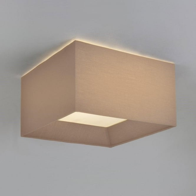 Square flush fitting ceiling light with oyster silk fabric shade bevel flush fitting ceiling light with oyster square fabric shade mozeypictures Choice Image