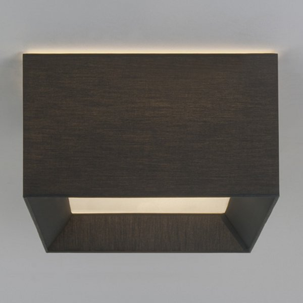 square flush fitting ceiling light with black fabric shade. Black Bedroom Furniture Sets. Home Design Ideas