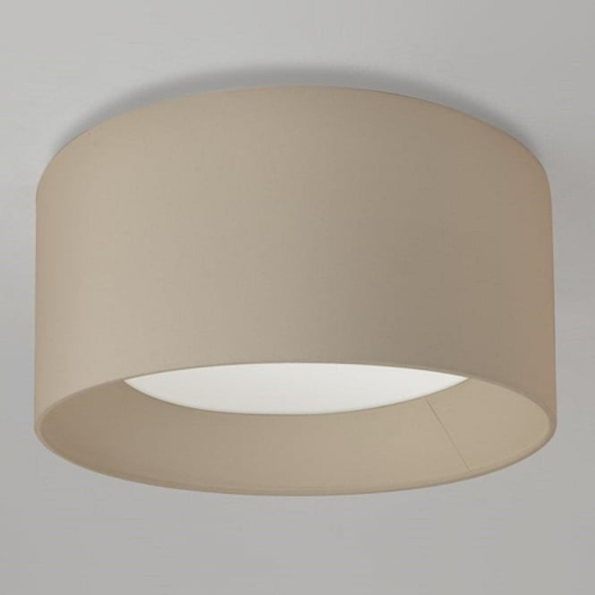 Oyster silk drum shade large circular flush fitting ceiling light bevel large flush fitting ceiling light with circular oyster fabric shade mozeypictures Gallery