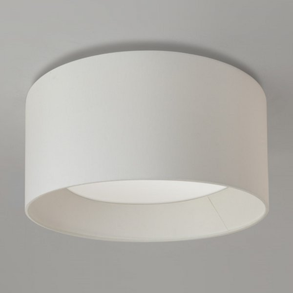 Large Flush Fitting Ceiling Light With Round White Fabric