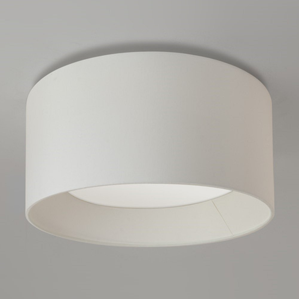 Large Flush Fitting Ceiling Light With Round White Fabric Shade