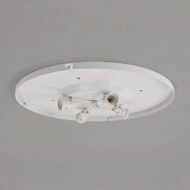 Bevel Large Flush Fitting Ceiling Light With Circular White Fabric Shade