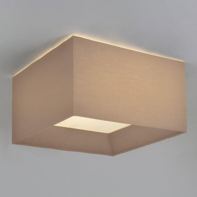 Oyster silk flush ceiling light square fitting shade for low ceilings bevel large flush fitting ceiling light with square oyster fabric shade aloadofball Image collections