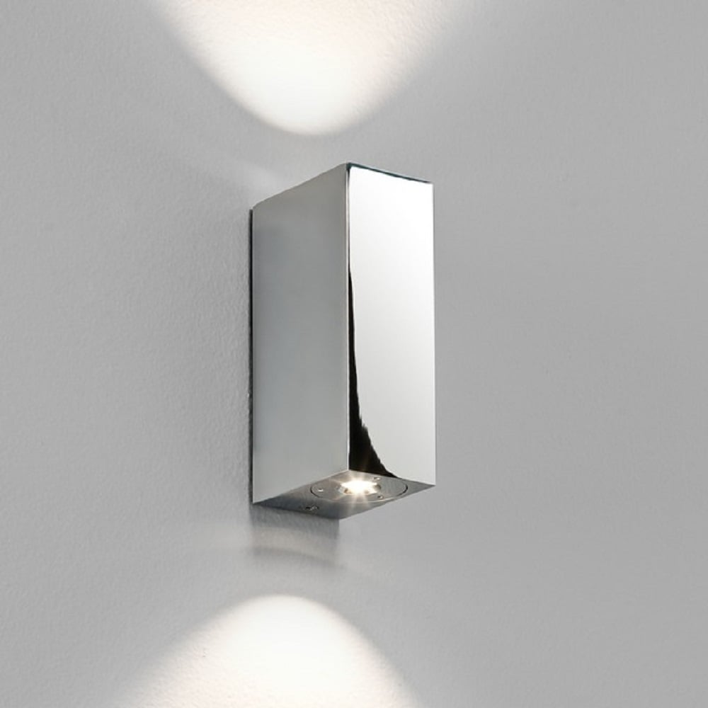 lighting ideas for bathrooms led flush fit brick shaped bathroom wall light in chrome 20365