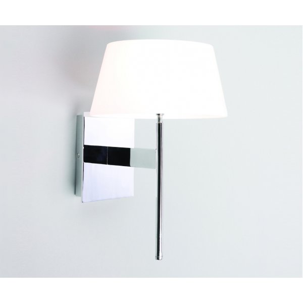 Stylish Modern Wall Light with Dimmer, Chrome with Glass Shade
