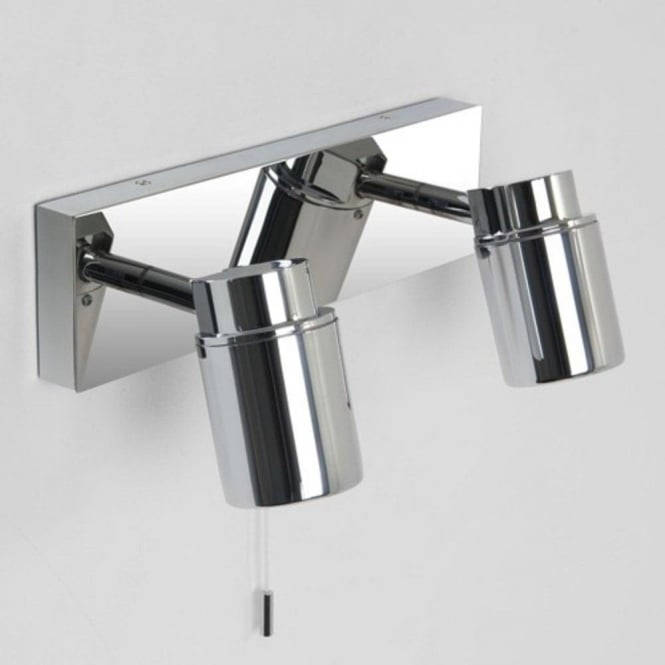 Ip44 modern chrome bathroom wall spotlights for using over mirror como bathroom twin wall spotlight bar ip44 mozeypictures Choice Image