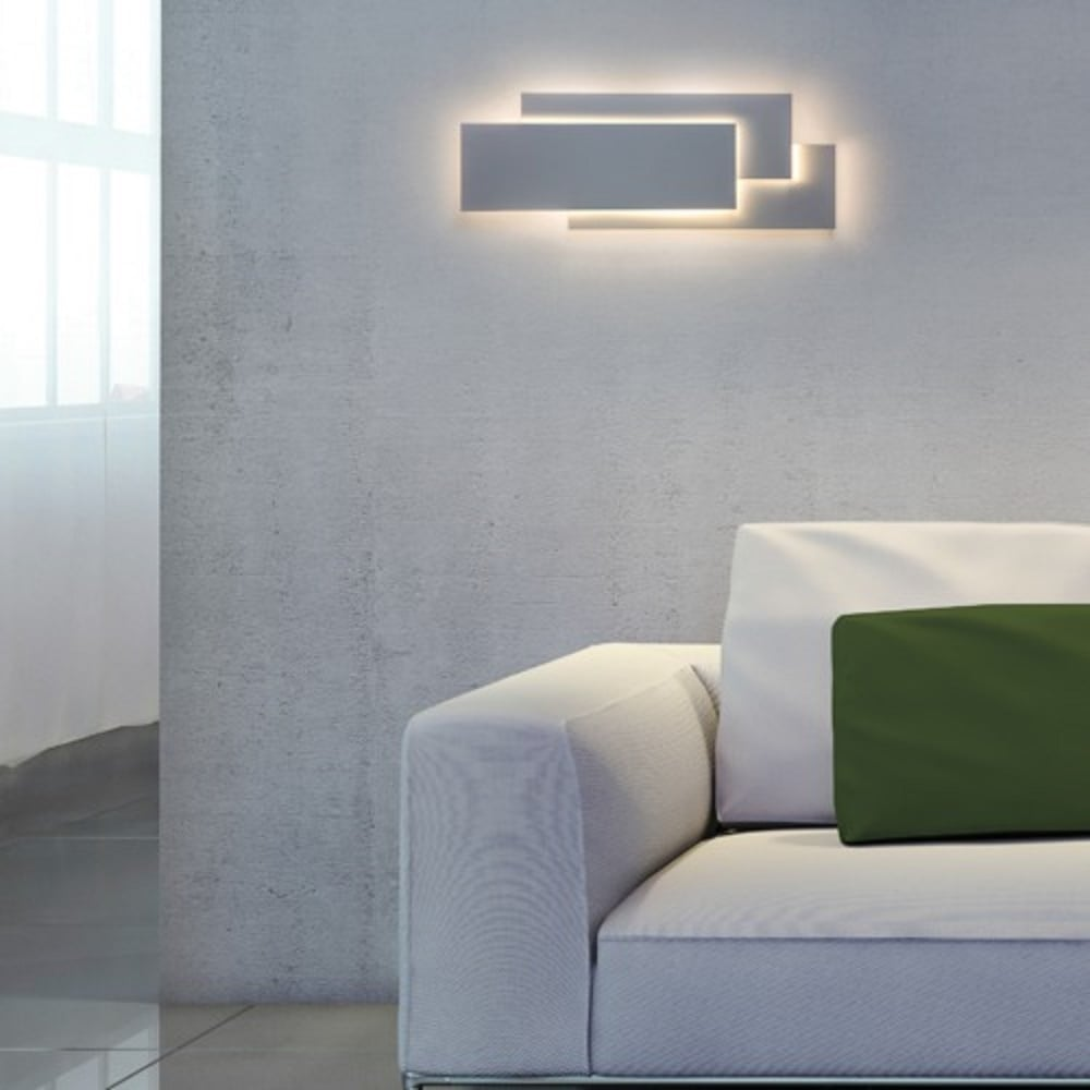 Edge contemporary led white panel wall light