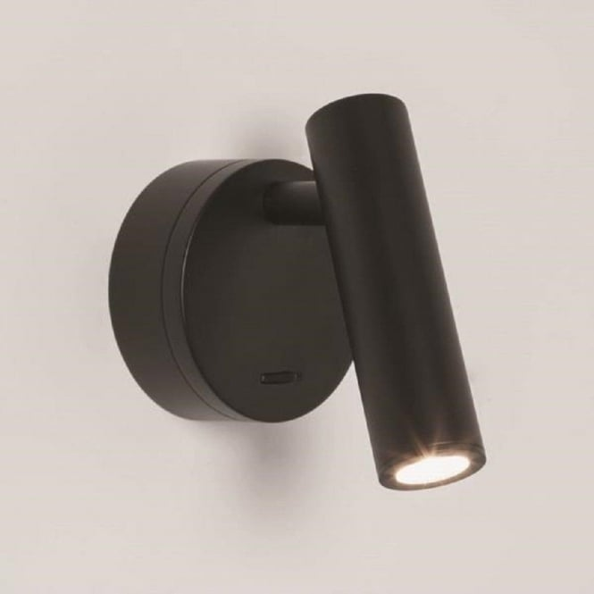 Led wall mounted book reading light in black finish for for Bed lights wall mounted