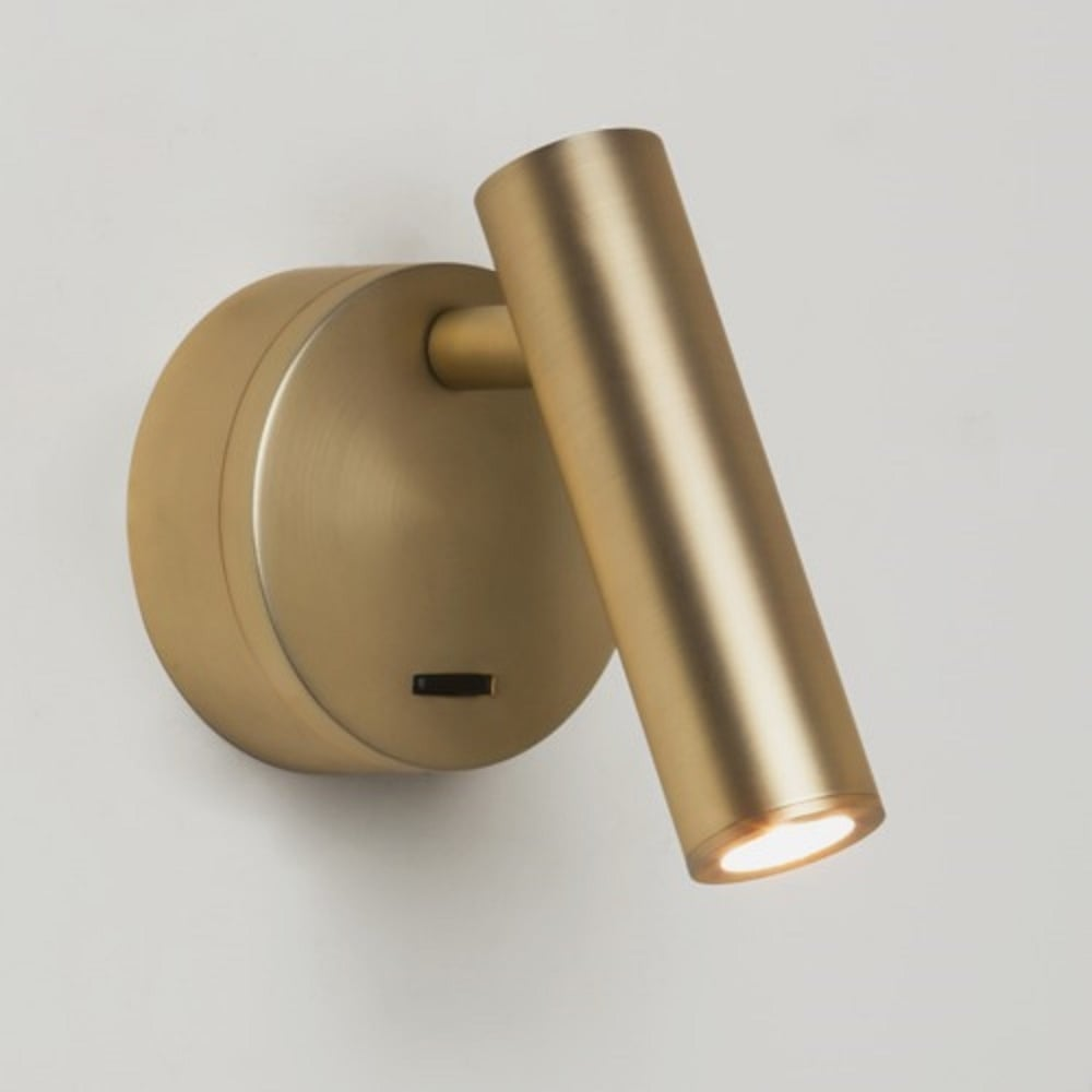 led book reading light with angled arm and switch in matt gold. Black Bedroom Furniture Sets. Home Design Ideas