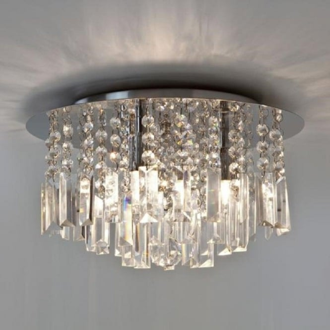 Ip44 bathroom chandelier with crystal droplets ip44 double insulated evros flush fitting bathroom chandelier light ip44 aloadofball Image collections
