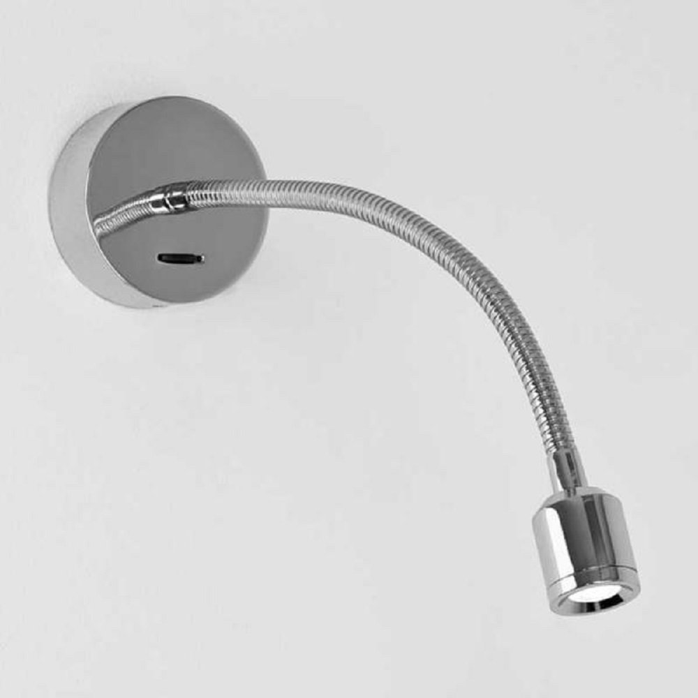 Surface Mounted LED Flexible Arm Wall Reading Light in Chrome Finish