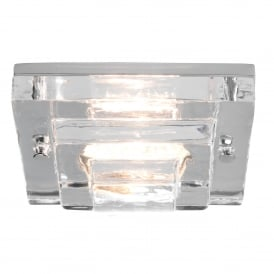 FRASCATI IP65 recessed bathroom downlight with square layered glass shade