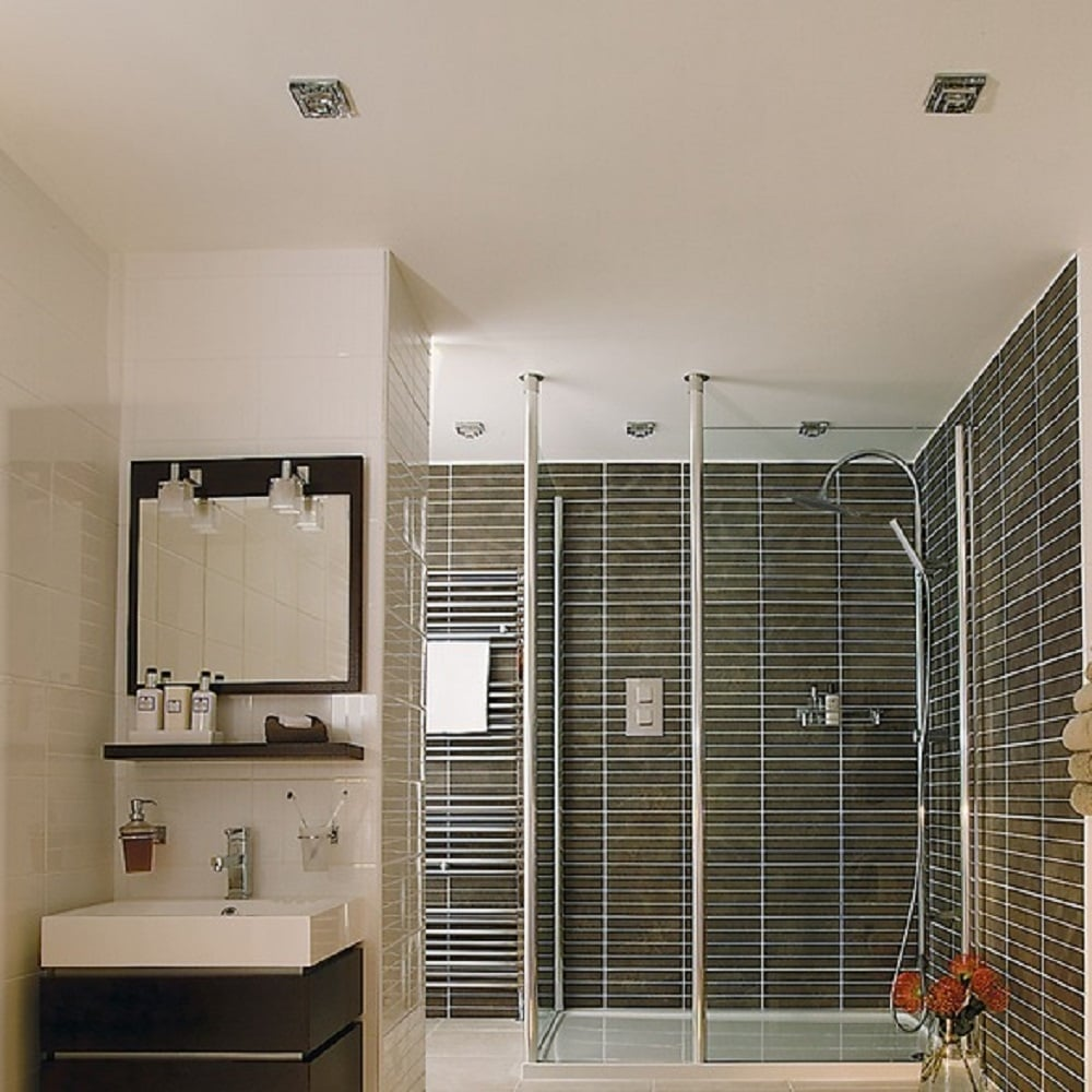 layered lighting. FRASCATI IP65 Recessed Bathroom Downlight With Square Layered Glass Shade Lighting