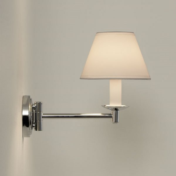 Traditional swing arm bathroom wall light white pvc for Traditional bathroom wall lights