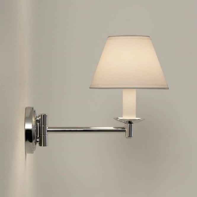Traditional Swing Arm Bathroom Wall Light, White PVC Candle Shade