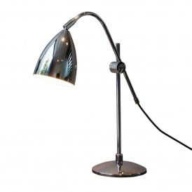 JOEL GRANDE modern chrome desk lamp with adjutable arm and shade