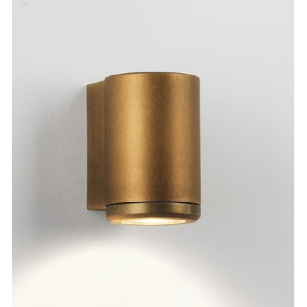 Tube shape outdoor wall spotlight solid brass for esposed coastal sites jura solid brass exterior tube shaped down facing single wall spotlight aloadofball Image collections