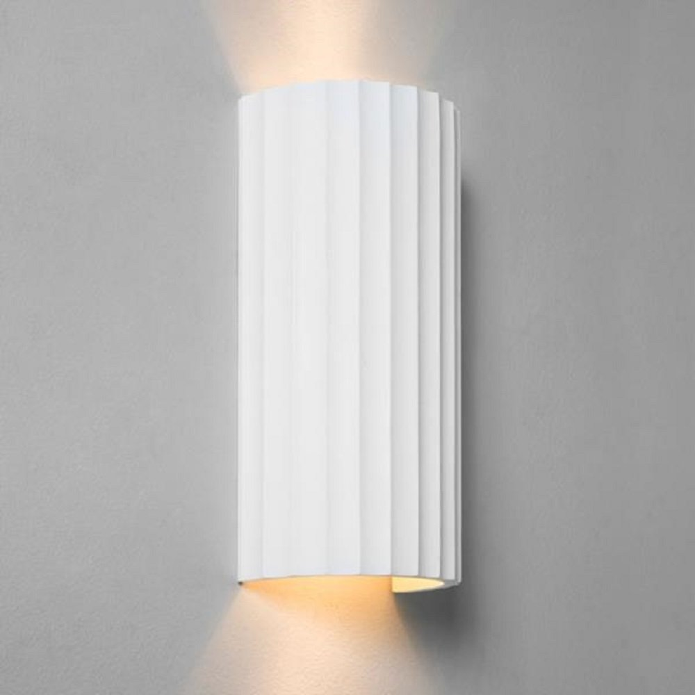 Large Ceramic Wall Lights : Paintable Ceramic Plaster Wall Washer Wall Light with Ribbed Detailing