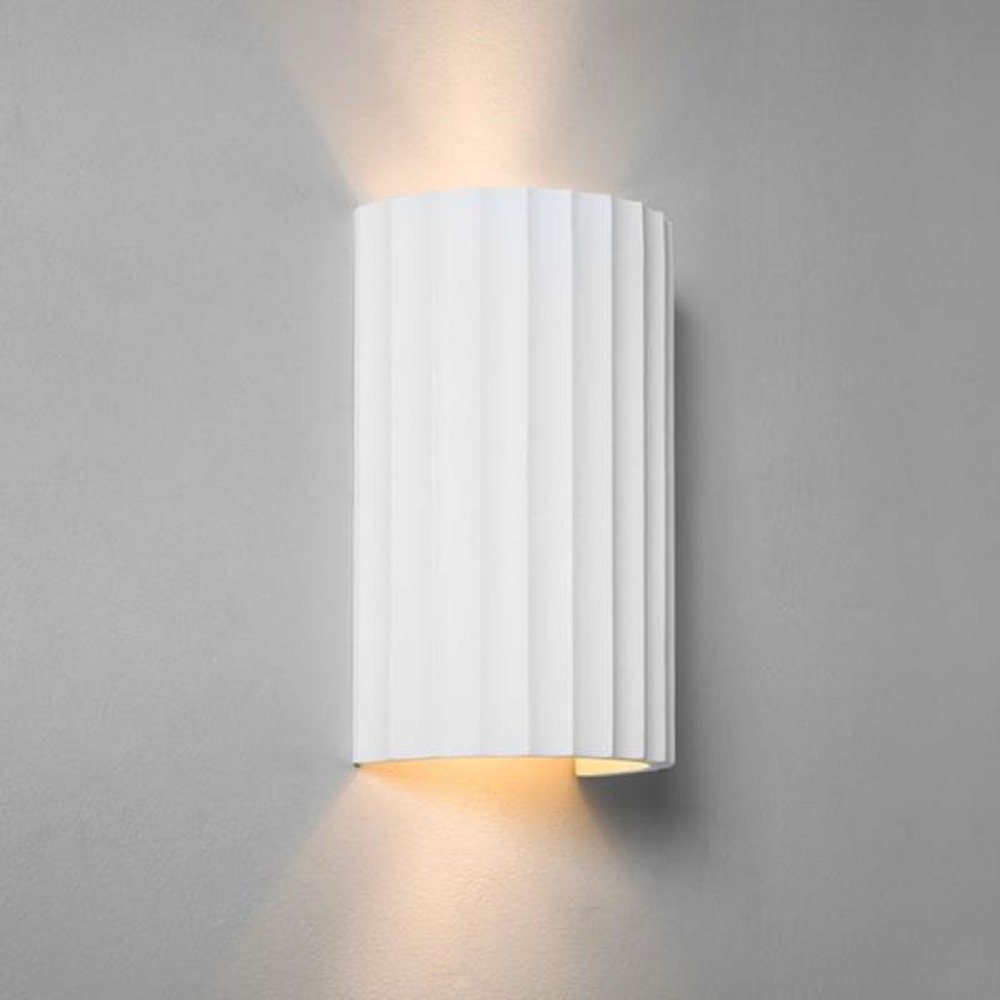Cylindrical Ceramic Paintable Wall Washer Light with Ribbed Detailing