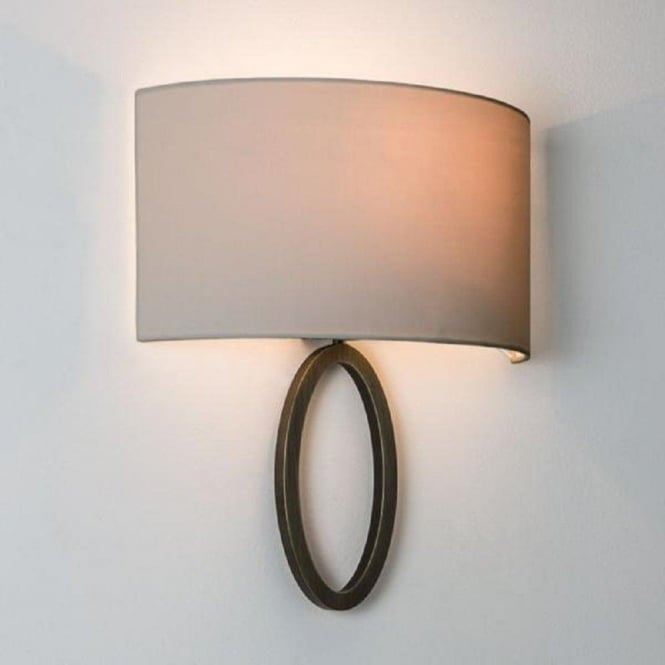 Bronze Wall Light With Oyster Fabric Wall Washer Shade