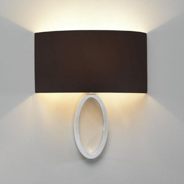 Polished Chrome Curved Wall Light With Black Fabric Wall