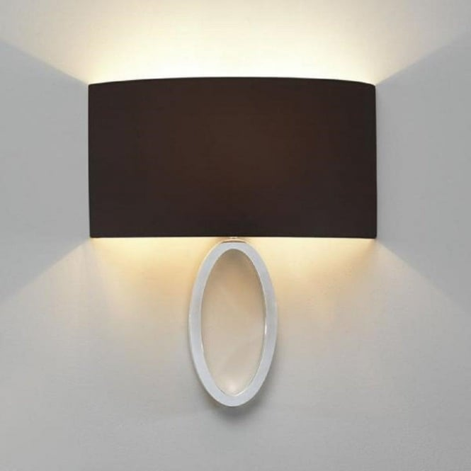 Polished chrome curved wall light with black fabric wall washer shade lima modern chrome wall light with curved black shade aloadofball Image collections