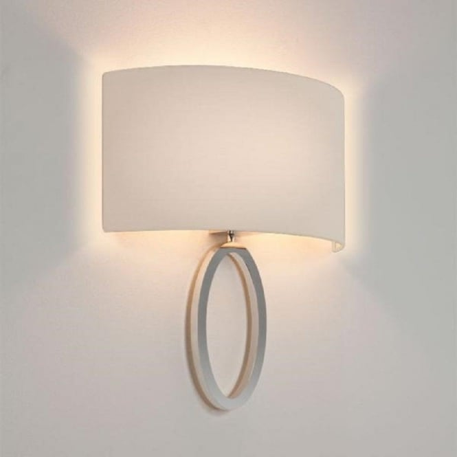 Imperial Hotel Lighting LIMA modern chrome wall light with curved white shade