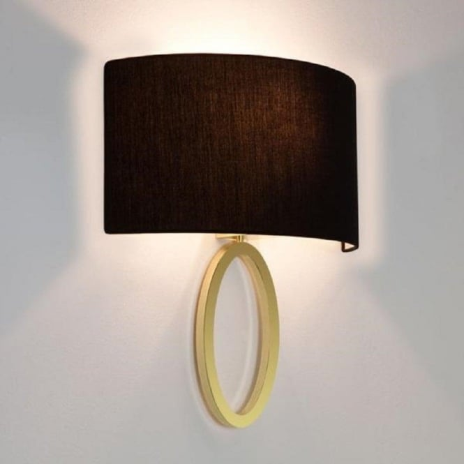 Imperial Hotel Lighting LIMA modern matt brass wall light with curved black shade