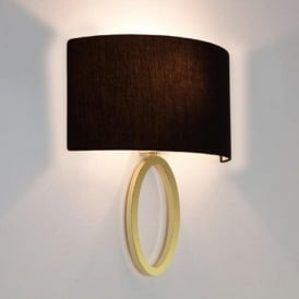 LIMA modern matt brass wall light with curved black shade