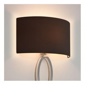 LIMA modern matt nickel wall light with curved black shade