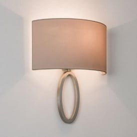 LIMA modern matt nickel wall light with curved oyster coloured shade